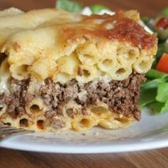 Greek Pastitsio, macaroni and sweet mince topped with a cheese bechamel