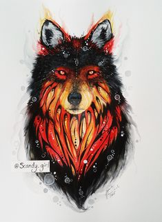 Fire wolf by Scandycurll.deviantart.com on @DeviantArt