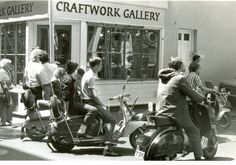 Mods on scooters, London 1979 © photo by Paul Wright - Mods on scooters in the Carnaby Street area of London being filmed for 'Steppin' Out', summer 1979.