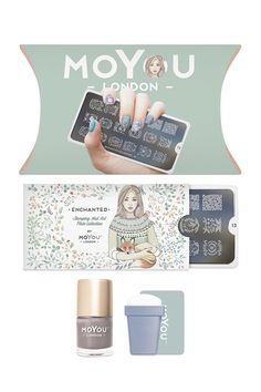 The Enchanted Nail Stamping Kit by MoYou™ includes a nail art image plate, nail stamping polish, and a rectangular stamp and scraper.