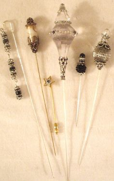 6 Antique style hat pins with vintage and ♥ by MarysForeverMemories, $30.00