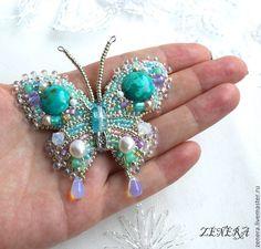 """Купить Брошь """"Бабочка дождя"""" - брошь, бабочка, украшение с бирюзой, бирюзовый, украшение бабочка"""