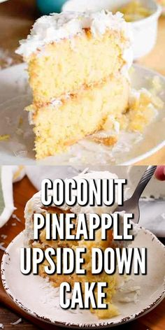 A pineapple coconut sugar mixture bakes on the bottom then gets flipped over to be on the top of this Coconut Pineapple Upside Down Cake. Top with a homemade whipped cream and sprinkle with coconut. A light fresh cake! Coconut Pineapple Cake, Pineapple Desserts, Pineapple Recipes, Coconut Sugar, Lemon Dessert Recipes, Best Cake Recipes, Coconut Recipes, Delicious Desserts, Cake Mix Desserts
