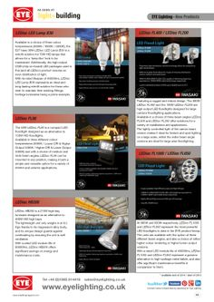 EYE Lighting product showcase page, as featured in the May and June 2014 issues of A1 Lighting Magazine