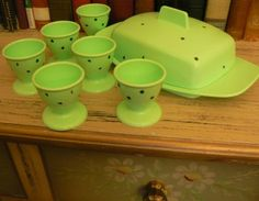 vintage Kitschy Kitsch ...  vintage BUTTER DISH and EGG Cups set of six  ... on Etsy, $25.00