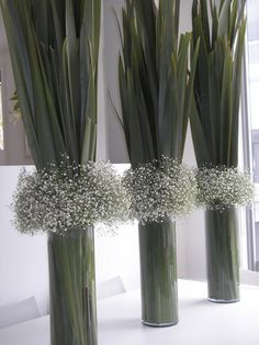 New Zealand Flax (Phormium) & Gypsophilia vase arrangements / Baby's Breath Unique Centerpieces, Flower Centerpieces, Table Centerpieces, Flower Decorations, Wedding Centerpieces, Wedding Table, Wedding Decorations, Table Decorations, Wedding Dinner