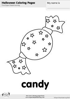 Free candy coloring page from Super Simple Learning. Tons of Halloween worksheets, flashcards, and crafts at www.supersimplelearning.com/resource-room. #kindergarten #preK #ESL