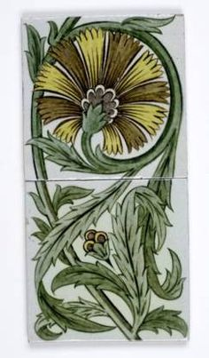 Out on the tiles - Victorian Style - Ceramic wall tile by William De Morgan with green foliage design on white background Ceramic Wall Tiles, Tile Art, William Morris, Background Tile, Victorian Wallpaper, Artistic Tile, Vintage Tile, Inca, Victorian Fashion