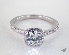 .7ct Halo Round Engagement Ring White Gold
