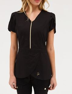 The Tulip Top in Black is a contemporary addition to women's medical scrub outfits. Shop Jaanuu for scrubs, lab coats and other medical apparel. Jaanuu Scrubs, Scrubs Outfit, Cute Scrubs, Black Scrubs, Nursing Clothes, Nursing Outfits, Womens Scrubs, Medical Scrubs, Scrub Tops