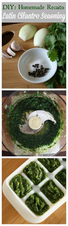 Here is a recipe for recaito.  This is a popular cilantro seasoning base for many Latin American dishes. I love this in black beans! #recaito #latinfood #hispanic #salsa | ethnicspoon.com
