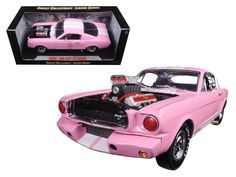 1965 Ford Shelby Mustang GT 350R Pink with White Stripes with Racing Engine 1/18 Diecast Model Car by Shelby Collectibles - Brand new 1:18 scale diecast 1965 Ford Shelby Mustang GT 350R Pink with White Stripes and Racing Engine die cast car model by Shelby Collectibles. Has steerable wheels. Brand new box. Rubber tires. Has opening doors and trunk. Made of diecast with some plastic parts. Detailed interior, exterior, engine compartment. Dimensions approximately L-10, W-4, H-3.5 inches…