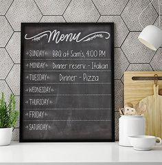 Chalkboard Kitchen Menu Weekly Meal Planner Kitchen Menu