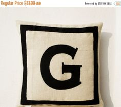 Personalized monogram throw pillow in burlap with black cotton
