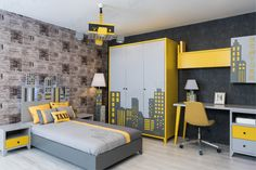 Taxi New York Genç Odası - Kinderzimmer Simple Bedroom Design, Wardrobe Design Bedroom, Bedroom Bed Design, Bedroom Furniture Design, Study Room Design, Home Room Design, Kids Room Design, Indian Bedroom Decor, Boys Bedroom Decor