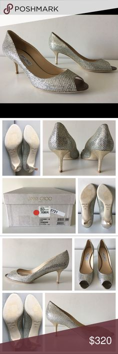 JIMMY CHOO ISABEL GLITTER KITTEN HEEL PUMPS 36.5 JIMMY CHOO Isabel  -Condition: Brand New With Box + Dust Bag. -Size: EU Size 36.5. -Model Name: Isabel. -Color: Champagne Glitter. -Textile upper. -Leather lining and sole. -Peep Toe Pumps. -Heel Height: Approx. 65mm (2.6 inches in height). -Retails for $595.00 -Made in Italy. -Same Day Shipping. Jimmy Choo Shoes Heels