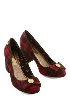 The Only Galaxy for Me Heel in Student. The scene through your telescope isnt the only thing thats stellar - so is your look since its grounded in these scholarly plaid heels! #red #modcloth