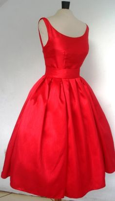 A Gorgeous Red Shantung 50s cocktail dress Custom. $285.00, via Etsy.