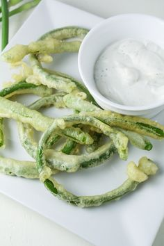 The First Harvest // Garlic Scape Tempura with Goat Cheese Dip - Katie at the Kitchen Door