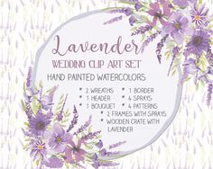 Watercolor wedding clip art set: hand painted Lavender; clip art bundle; weddings; wedding clip art; instant download by LollysLaneShoppe on Etsy