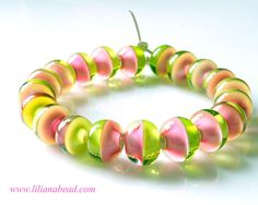 Infinite Horizons - Pink & Lime Green - A Strand of Glass Beads for Jewelry Makers Here and Out There