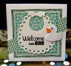 Card by Colien with Creatables Bib (LR0306) and Rubber Duck (LR0333) by Marianne Design