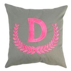 Monogrammed Grey Cotton Throw Pillow