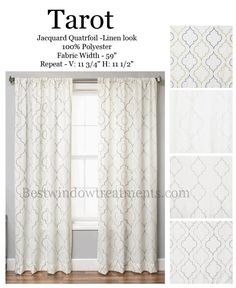 """Tarot Curtain Panel in a Quatrefoil Design available in 4 colors :Panels in standard size length drapes or extra long 108"""" inch curtains or 120"""" inch drapery panels : options for lining/interlining/blackout curtains : grommets, back-tabs or rod pocket   Best Window Treatments"""