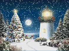 christmas scenes | Animated snowfall in moonlight Christmas scene