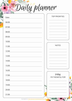 Set of 5 daily planner templates in different design. This bundle comes with: Floral Daily Hourly Planner Daily Schedule Hourly Planner Daily Hourly Planner Printable Daily Hourly Planner Template with Flowers Days Hourly Planner Planner Free, Weekly Hourly Planner, To Do Planner, Daily Planner Pages, Daily Planner Printable, Study Planner, Free Printable, Daily Schedule Templates, Weekly Plan Template