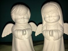 PAIR of Praying Angels  Heavenly Boy & Girl Unpainted Ceramics You Paint Your Own - U Paint Ceramic Bisque by MagicalMud, $4.00