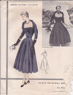 """Vogue 1196 © 1952 Circular skirt with shallow hip yoke has soft rolling pleats either side of front panel. No side seams. Skirt joins bodice at waist-line. Horizontal tucks release to form draped shawl collar. Three-quarter length push-up kimono sleeves, cut in one with back joined to armhole in front. """"This was one of the most flattering necklines shown at the collections – a hollow frame, just shadowing the shoulders. The kind of dinner dress that is unlimitedly useful, with its forea..."""