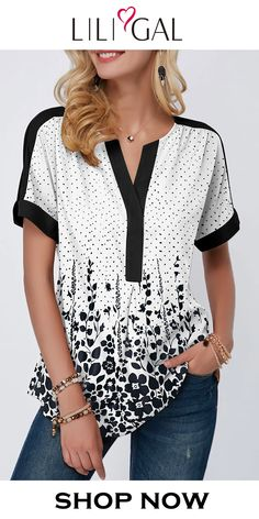 USD27.37 Spring Summer Dot Print Split Neck Short Sleeve Blouse, shop this cute top at Liligal now! #liligal #blouse #tshirt