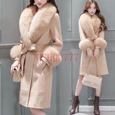 Fashion Womens Luxury Faux Fur Collar Winter Wool Blend Long Coats Casual Parka | eBay