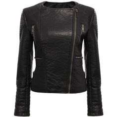 Yoins Black Collarless Biker Jacket ($49) ❤ liked on Polyvore featuring outerwear, jackets, yoins, leather jacket, genuine leather jacket, real leather jacket, black jacket and black zipper jacket