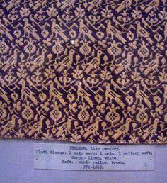 14th century Italian Linsey Woolsey.  talian; 14th Century. cloth tissue: 1 main warp; main weft. Warp: linen, white. Weft: wool, yellow, brown.