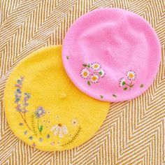 Parisian chic wool beret. Available in pink, lemon and navy. Hand embroidered flower and foliage detail. Deets: wool beret, one size fits most Beret comes gift wrapped in tissue paper and tied up in a pretty twine bow. Shipping: Please allow orders to take 5-10 working days to be dispatched. All Cute Embroidery, Embroidery Thread, Japanese Embroidery, Flower Embroidery, Kawaii Clothes, Diy Clothes, Pink Lemon, Wool Berets, Bubble Art
