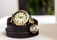 Wrap Watch wrist watch cork leather bead watch by RafFinesse Beaded Watches, Vintage Looks, Real Leather, Pocket Watch, Cork, Bracelet Watch, Dandelion, Vintage Jewelry, Dangles