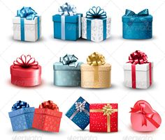 Set of Colorful Gift Boxes with Bows and Ribbons #GraphicRiver Set of colorful gift boxes with bows and ribbons. Vector. Fully editable, vector objects separated and grouped, gradient mesh used. If you need a layered PSD (big JPG image, layered EPS, Ai ..) write it in the comments! Created: 13 December 13 Graphics Files Included: Vector EPS Layered: No Minimum Adobe CS Version: CS Tags blue, bow, box, boxes, card, color, colorful, day, decor, gift, giftbox, happy, heart, holiday, label…