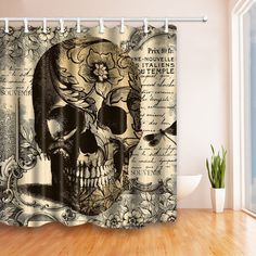 """72/"""" Shower Curtain Set Ancient Skull with Book Bathroom Polyester Fabric Hooks"""