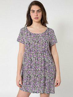 Small Floral Printed Rayon Babydoll Dress | American Apparel
