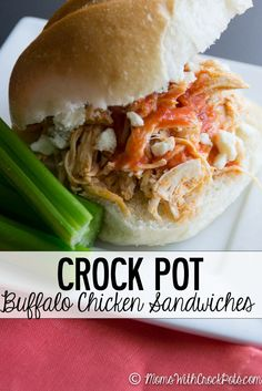 Spice Up game day or any day with this Crock Pot Buffalo Chicken Sandwiches Recipe
