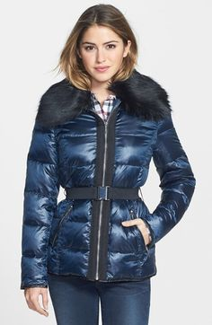 Laundry by Shelli Segal Faux Fur Collar Belted Down & Feather Fill Coat