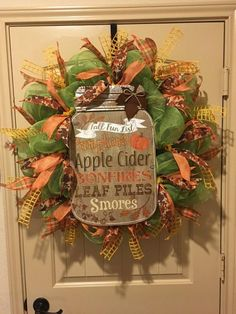 """Fall Mason Jar Wreath with """"Fall Fun List"""" decoupage mason jar shaped wall hanging with distressed wood accented with tin top, leaf and curled wire hanger. Thanksgiving Crafts, Thanksgiving Decorations, Fall Crafts, Holiday Crafts, Diy Crafts, Halloween Decorations, Holiday Decor, Diy Fall Wreath, Autumn Wreaths"""