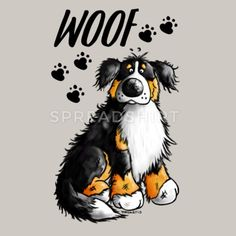 Woof Bernese Mountain Dog Pillowcase x x 45 cm) Dog Clip Art, Dog Art, Drawing Animals, Animal Drawings, Burmese Mountain Dog Puppy, I Love Dogs, Cute Dogs, Dog Pattern, Cartoon Dog