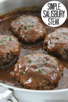 Simple Salisbury Steak - perfect weeknight recipe idea to serve the family. - Simple Salisbury Steak - perfect weeknight recipe idea to serve the family. Simple Salisbury Steak - perfect weeknight recipe idea to serve th. Crock Pot Recipes, Casserole Recipes, Stove Top Recipes, Salisbury Steak Recipes, Homemade Salisbury Steak, Salisbury Steak Meatballs, Salisbury Steak Recipe Pioneer Woman, Salsbury Steak Gravy, Gluten Free Salisbury Steak Recipe