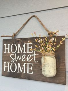 Porch Decor, Home sweet home rustic front door sign decor, Gift, Outdoor signs for house & home, front porch wood sign decoration - Rustic Outdoor Home Sweet Home Wood Signs Front by RedRoanSigns - Diy Home Decor Rustic, Easy Home Decor, Cheap Home Decor, Farmhouse Decor, Farmhouse Style, Rustic Crafts, Rustic Outdoor Decor, Rustic Cottage, Farmhouse Ideas
