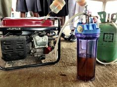 Urine powered generator at Maker Faire Africa - 2 liter of urine provides 6 hrs of power