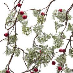 KSA 9/' ACRYLIC RED//GREEN//WHITE BEADED GARLAND w//ROUND PEPPERMINT SWIRL CANDY