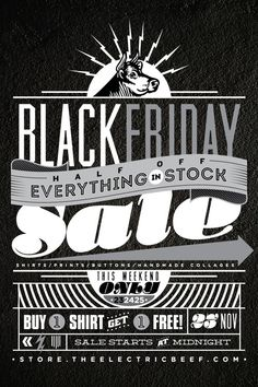 The Electric Beef  Typography for Black Friday sale by St Francis Elevator Ride